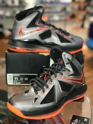 632e23a136e4 Nike Lebron X 10 Charcoal Total Orange Black Lava Mens Size 11 (541100-002