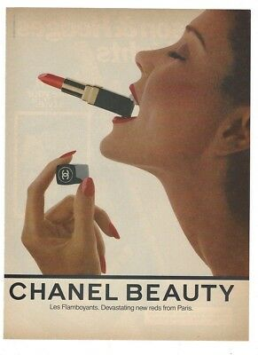 1980 CHANEL AD~magazine print~CHANEL BEAUTY LIPSTICK~vintage paper advertisement