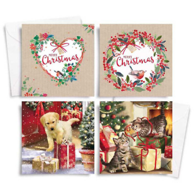 10 X 12 TRADITIONAL CATS N DOGS CHRISTMAS CARDS IN ACETATE BOX JUST 95p ( 8493