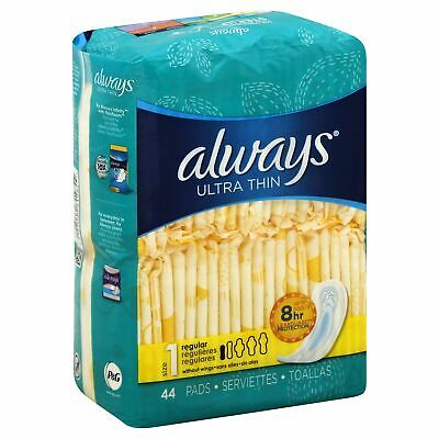 Always Ult Thin Reg 44Ct,Size 44CT,Pack of 6, Always Ultra Thin Regular Pad 44Ct