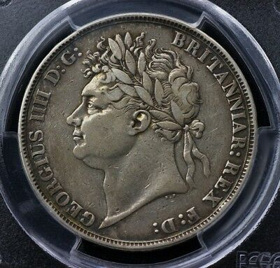 PCGS 1821 crown coin - gold shield s-3805 secundo VF George iiii IV 4th silver