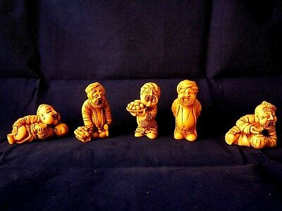 Set Of 5 Vintage Russian Stained Resin Netsuke