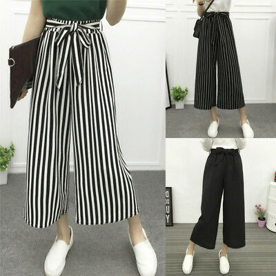 Fashion Women Casual High Elastic Waist Pants Wide Leg Loose Striped Trousers