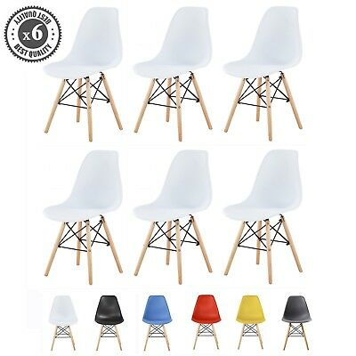 MCC® 6 Retro Eames Plastic Wooden Modern Dining Office Lounge Chair LIA