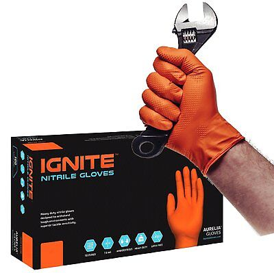 "NEW ""IGNITE"" Diamond-Textured ORANGE Powder-Free Heavy Duty Nitrile Gloves"