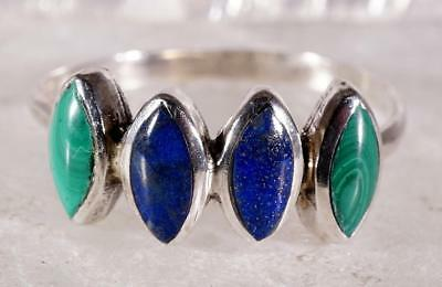 Petite Sterling Silver Ring With Malachite And Blue Lapis Stones Size 7.25