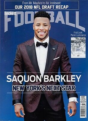 Current Football Beckett Price Guide Magazine July 2018 issue Saquon Barkley