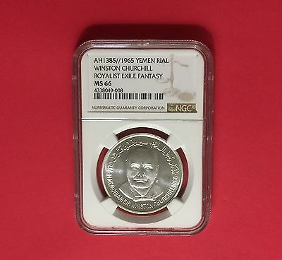 Yemen-1965 Unc Silver Rial-Graded By Ngc Ms-64 Winston Churchill-Royalist Exile.