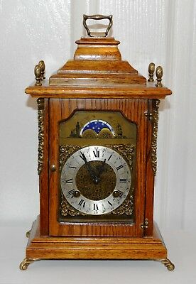 Antique Small Oak Moon Phase Bracket Clock Franz Hermle German Movement