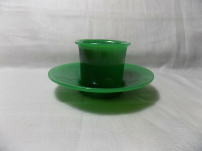 Chinese Antique Green Peking Glass Cup and Saucer