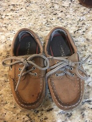 6b27fe1173063 YOUTH BOYS SPERRY TOP-SIDER Leather Brown Tan Boat Shoes Size 8 M ...
