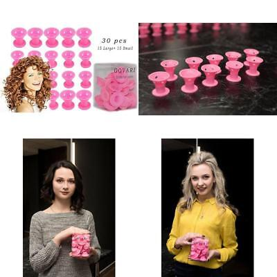 30Pcs Silicone Rollers Hair Curlers Diy Hair Style - No-Heat Styling 15Pcs X Big