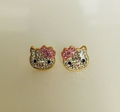983ffacb8 14K Gold Pink/White Created Diamond Hello Kitty Baby Screw Back Earrings  Pink
