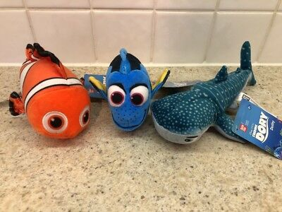 Finding Dory Soft Plush Toys by Bandai - Dory, Nemo & Destiny - New With Tags