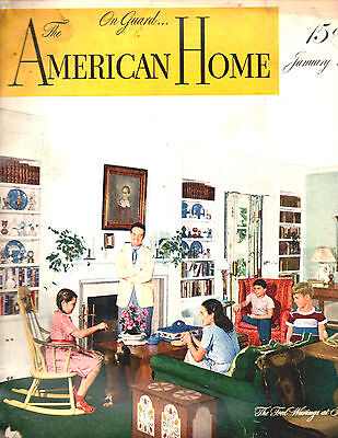 January 1945 The American Home Magazine-Architectural-Great Vintage Ads-Rare