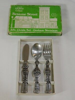 1976 Gorham Sesame Street Vintage Stainless Fork Spoon Knife in Box Muppets