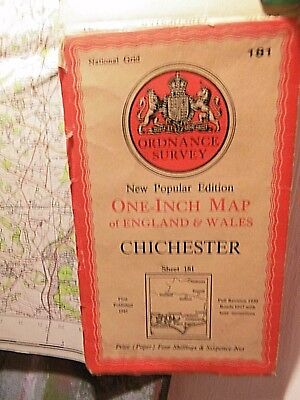 Chichester Portsmouth:hants & West Sussex-War Time Os Map 1930-1945-Poss Mod Use