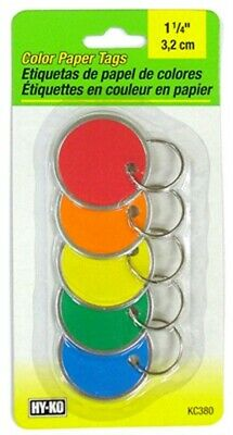 Part KC380,Hy-Ko Prod Co,5 Pack, Color Paper Tags With Key Ring, Carded.
