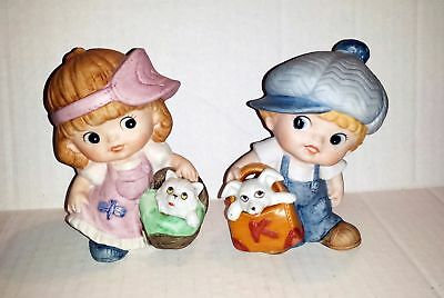 Homco #1439 Boy and Girl with Dog and Cat Figures
