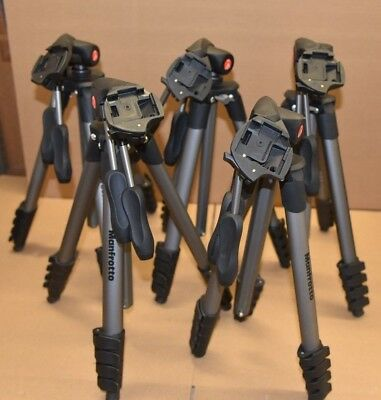 LOT OF 5 x Used Manfrotto MKCOMPACTADV-BK Compact Advanced Aluminum Tripod Black