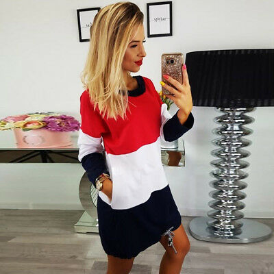 Fashion Sexy Women Sport Holiday O Collar Party Ladies Casual Dress Long Sleeve