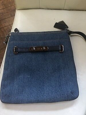 0b8f882ee COACH SMALL1941 LAPIS Blue Leather Saddle Bag Shoulder Crossbody Bag ...
