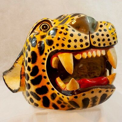 Mexican Folk Art - Hand Carved Wooden Jaguar Mask