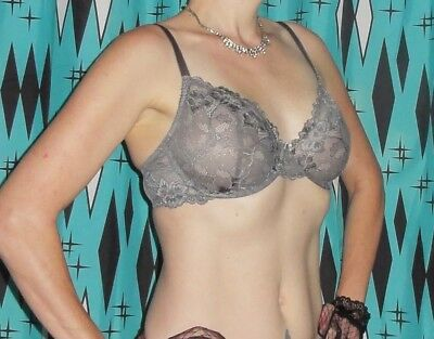 Vintage Grey Lace Push Up Bra 36 D pin up clothing girl 1950s retro cleavage