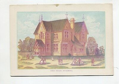Vintage 1876 Centennial Exposition Lithographic Card OHIO STATE BUILDING