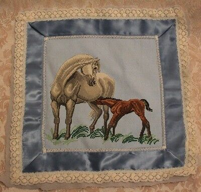 Completed COUNTED CROSS STITCH Home decoration Handmade embroidery Horse w/Foal
