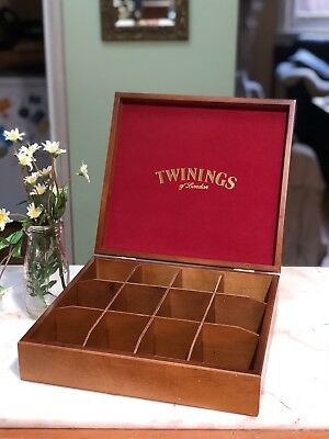 Twinings Of London Wooden Tea Caddy Box 12 Compartments B&b Holds 120 Tea Bags