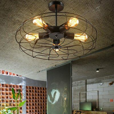 Industrial Vintage Metal Fan Pendant Lamp Steampunk Ceiling Chandelier Light FG