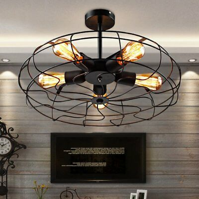 Industrial Vintage Metal Fan Pendant Lamp Steampunk Ceiling Chandelier Light TB