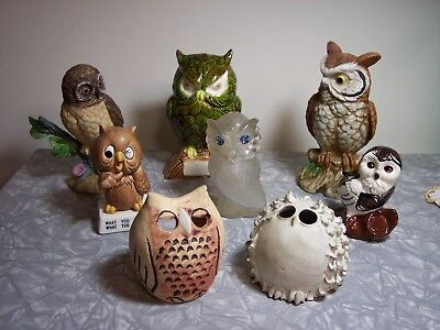 Vintage Lot of 8 Owl Figurines & Votive Candle Holder Covers