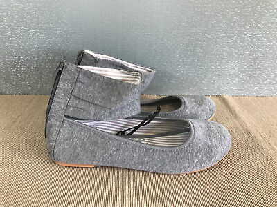 BNWT Older Girls Sz 2 Rivers Doghouse Grey marble Look Ankle Cuff Flat Shoes