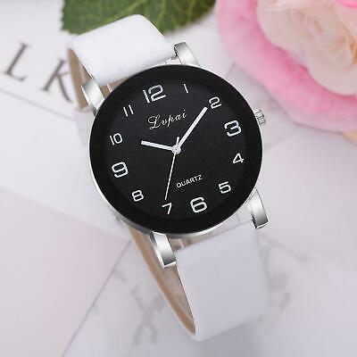 LVPAI Womens Ladies Watches Black Alloy Dial Leather Band Quartz Wrist Watch