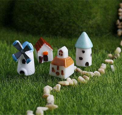 4pcs Miniature Fairy Garden Ornament Landscape House Castle Dollhouse Decoration