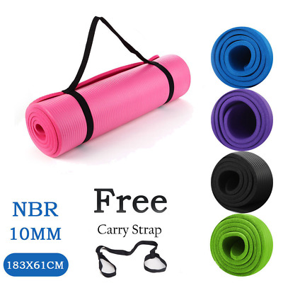 10MM Thick Yoga Mat Pad Nonslip Exercise Fitness Pilate Gym Floor Home NBR Foam