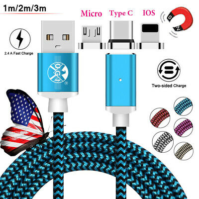 US Magnetic Micro USB Type C Lightning Charging Cable For iPhone Samsung S9 Lot