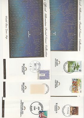 2000 FRANKLIN MINT OFFICIAL MILLENNIUM COVERS x 6 countries World Time Zone Maps