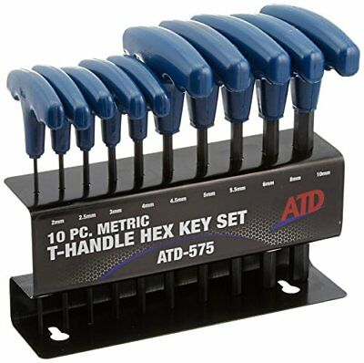ATD Tools 575 10-Piece Metric T-Handle Hex Key Set Keys Wrenches Hand Home