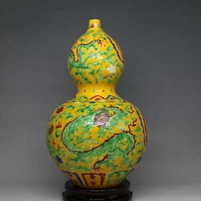 Unique Chinese Antique Yellow Glazed Porcelain Dragon Phoenix Calabash Vase
