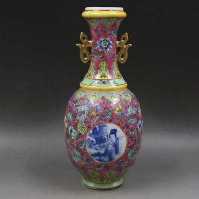 Beautiful Chinese Antique Famille Rose Porcelain Figure Two Ear Vase