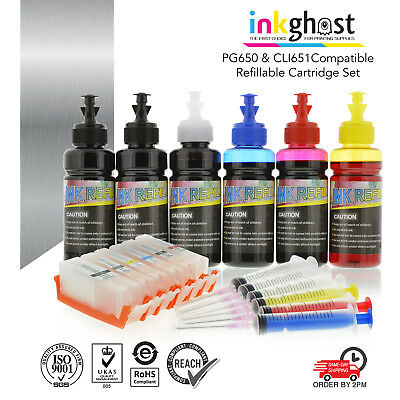Refillable ink cartridges for Canon CLI651 PGI650 MG6360 IP8760 MG7560 MG7160