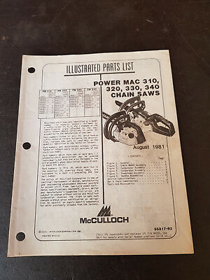 McCulloch Power Mac 310,320,330,340 Chainsaw Illustrated Parts List 1981