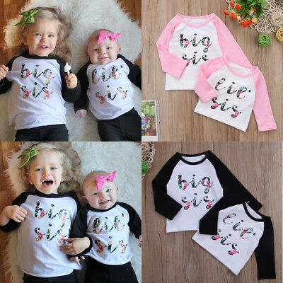 Big/Little Sister Matching Top T-shirt Newborn Baby Girl Romper Bodysuit Outfits