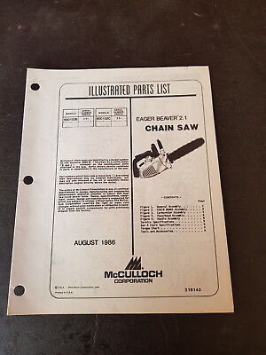 McCulloch Eager Beaver 2.1 Illustrated Parts List 1986