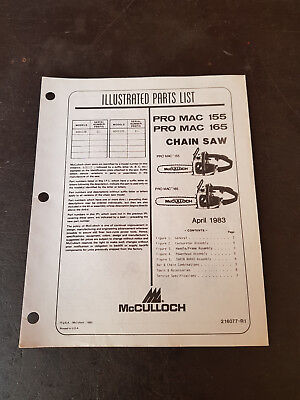 McCulloch Pro Mac 155 165 Illustrated Parts List 1983