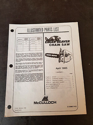 McCulloch Eager Beaver Chain Saw Illustrated Parts List 1983