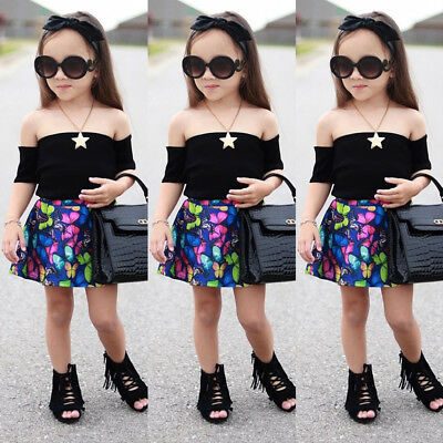 04b9a095948bc7 US Toddler Kids Baby Girl Off Shoulder Tops+Butterfly Skirt Dress Outfit  Clothes